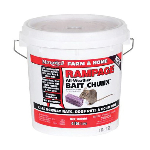 Rampage® Rat and Mouse Bait, 4.033 lb, Pail, Chunx