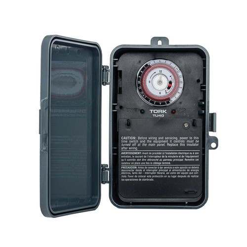 TORK® Multi-Voltage Universal Time Switch, 24 hr Time Setting, 120 to 277 VAC, DPDT Contact Form, 2 Poles