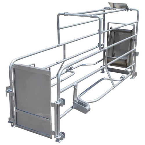 Farmer Boy Pig Saver Bowed Bar Farrowing Crate, 41 in H x 20 in W x 84 in L, Stainless Steel Feet