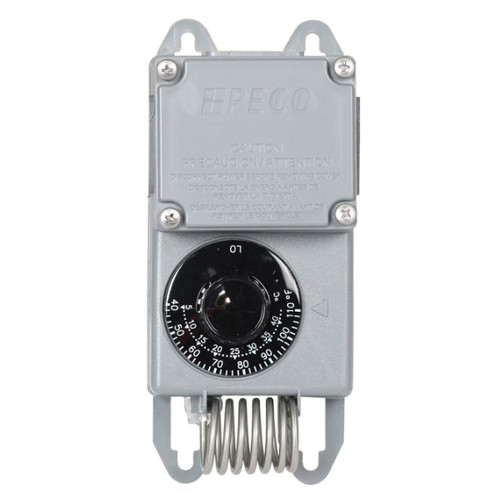 PECO Raintight Weather Resistant Line Voltage Thermostat, Mechanical Thermostat, 40 to 110 deg F Control, SPDT
