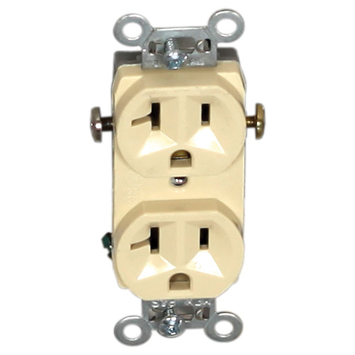 Duplex Female Indented Face Self-Grounding Receptacle, 110V, 20 A, 2 Poles, 3 Wires, Ivory