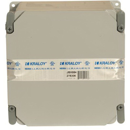 PVC Jbox™ Junction Box With Toolless Cover, 293.19 cu-in, 8 in H x 8 in W x 4 in D