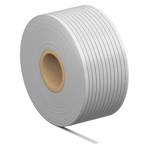 Woven White Polyester Strapping, For Use With 4 in W Egg Belt, 650 lb Break Strength, 6 in W Coil