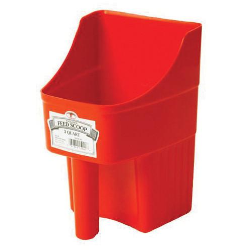 Enclosed Heavy Duty Feed Scoop, 3 qt Load, Red, Polyethylene