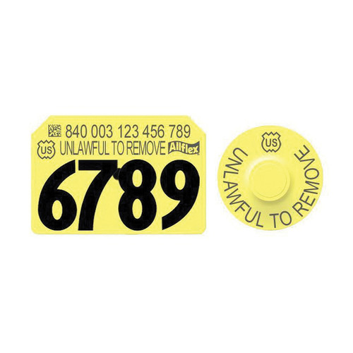 Allflex® Integra™Yellow  Hog Male Premise 840 USDA Ear Tag With Global Tamperproof™ Small Female Button