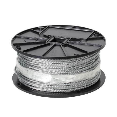 Aircraft Cable, 1/8 in Dia x 500 ft L, Galvanized Steel