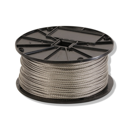 Fortune Rope 7 x 19 Stranded Aircraft Cable, 3/32 in Dia, Stainless Steel