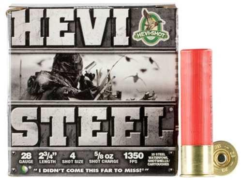 """HEVI-SHOT Hevi-Steel 28GA 2 3/4"""", 5/8oz. 1350FPS, #4, 25RD"""
