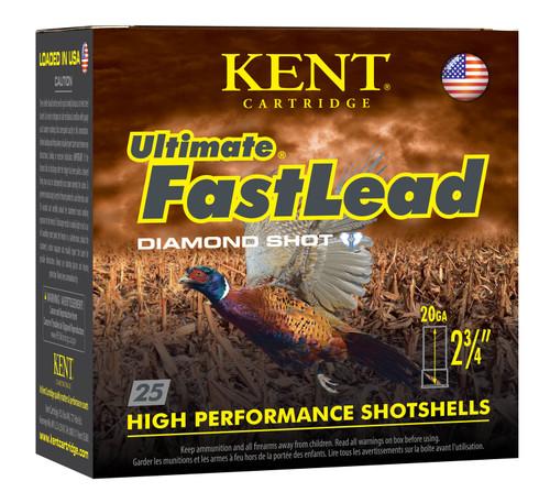 "Kent Ultimate Fast Lead 20GA 2 3/4"", 1oz. 1250FPS, #6, 25RD"