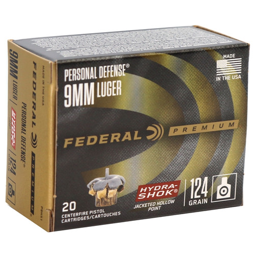 Federal Premium Personal Defense Hydra-Shok 9mm 124GR Jacketed Hollow Points, 20RD