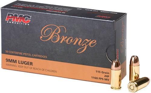PMC Bronze 9mm Luger 115GR JHP, 50RD