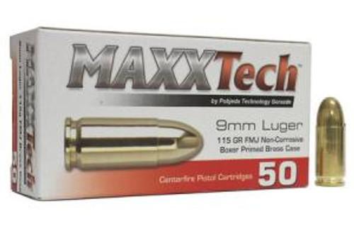 MaxxTech 9mm Luger 115GR FMJ, 50RD