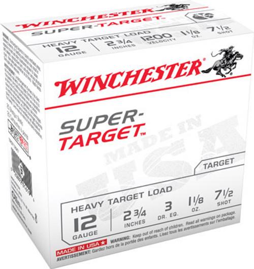 "Winchester Super Target Heavy Target Load 12GA 2 3/4"", 1 1/8oz. 1200FPS, #7.5, 25RD, 10Box/Case, 250RD/Case"