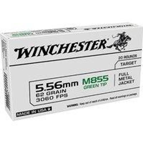 Winchester 5.56mm NATO Green Tip 62GR FMJ, 20RD
