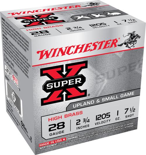 "Winchester Super-X High Brass Game Loads 28GA 2 3/4"", 1oz. 1205FPS, #7.5, 25RD"