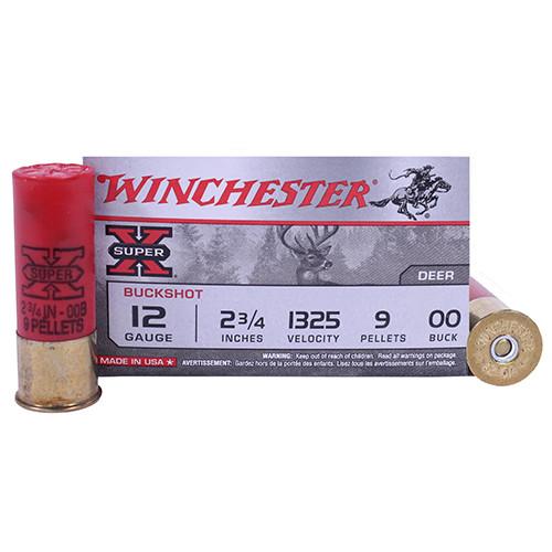 "Winchester Super-X 12GA 2 3/4"", 1325FPS, 9 Pellets 00 Buckshot, 5RD"