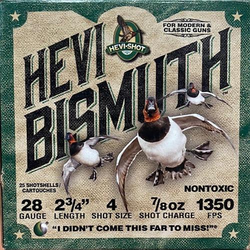 "HEVI-SHOT Bismuth Waterfowl 28GA 2 3/4"", 7/8oz. 1350FPS,  #4, 25RD"