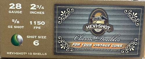 "HEVI-SHOT Classic Doubles 28GA 2 3/4"", 5/8oz. 1150FPS, #6, 10RD"