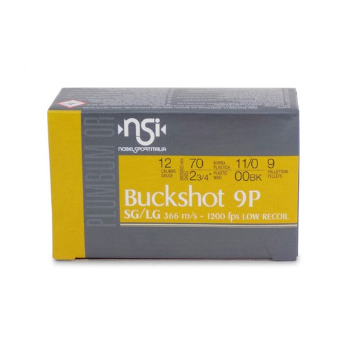 "Nobelsport Low Recoil 12GA 2 3/4"", 9 Pellet 00 Buckshot, 10RD/Box, 25Box/Case, 250RD Case"