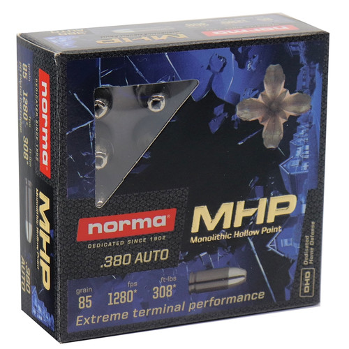 Norma .380 Auto 85GR Monolithic Hollow Point (MHP), 20RD