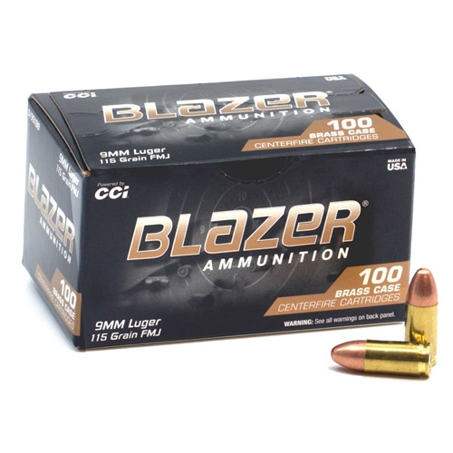 CCI Blazer 9mm Luger 115GR FMJ, 100RD