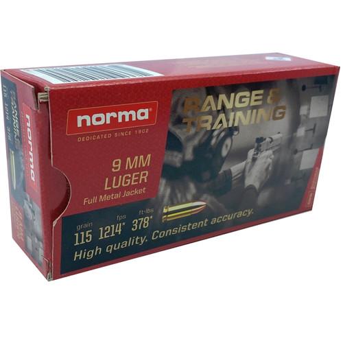 Norma Range & Training 9mm Luger 115GR FMJ, 50RD