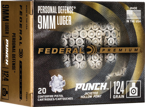 Federal Punch Personal Defense 9mm Luger 124GR Hollow Point, 20RD