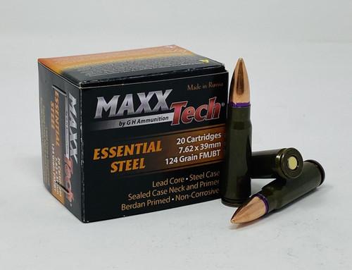 MaxxTech Essential Steel 7.62x39mm 124GR FMJ, 20RD