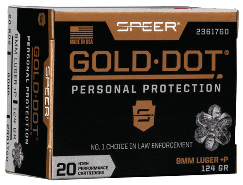 Speer Gold Dot Personal Protection 9mm Luger 124GR Hollow Point, 20RD
