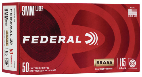 Federal Champion 9mm Luger 115GR FMJ, 50RD