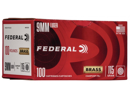 Federal Champion 9mm 115GR FMJ, 100RD
