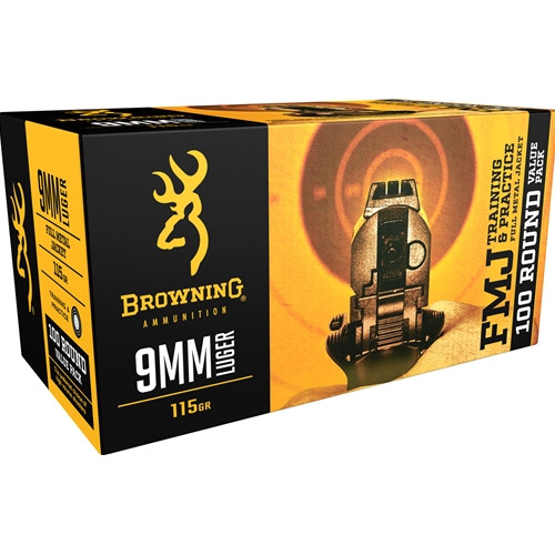 Browning 9mm Luger 115GR FMJ, 100RD