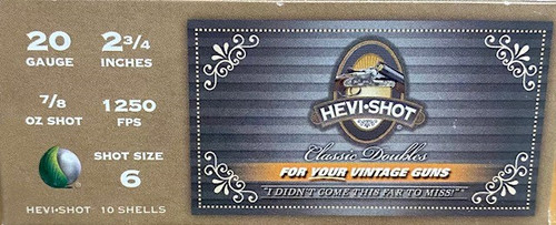 "HEVI-SHOT Classic Doubles 20GA 2 3/4"", 7/8oz. 1250FPS, #6, 10RD"