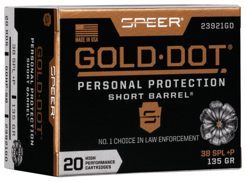 Speer Gold-Dot Personal Protection .38 Special Short Barrel 135GR Hollow Point, 20RD