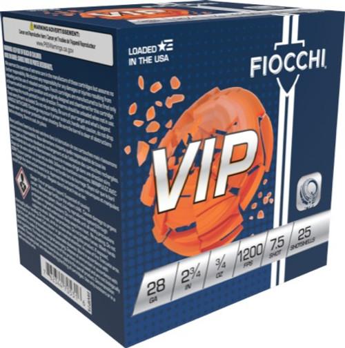 """Fiocchi Exacta VIP Target Loads 28GA 2 3/4"""", 3/4oz.1200fps, #7.5, 25RD"""