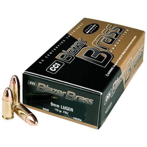CCI Blazer Brass 9mm Luger 115GR FMJ, 50RD