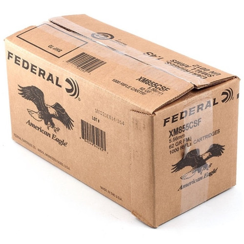 Federal American Eagle 5.56mm NATO 62GR FMJ, 1000RD BULK