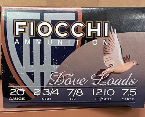 """Fiocchi  20GA 2 3/4"""", 7/8oz #7.5,1210 FPS25RD Per Box, 10 Box/Case, 250RD/Case"""