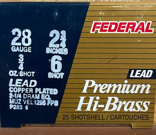 "Federal Premium Upland High Velocity 28GA 2 3/4"", 3/4 oz. 1295FPS, #6, 25RD"
