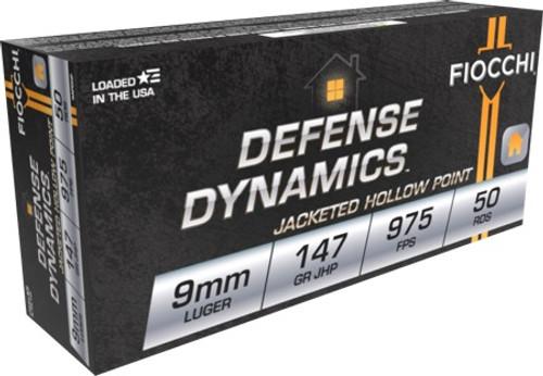 Fiocchi Defense Dynamics 9mm Luger 147GR JHP, 50RD