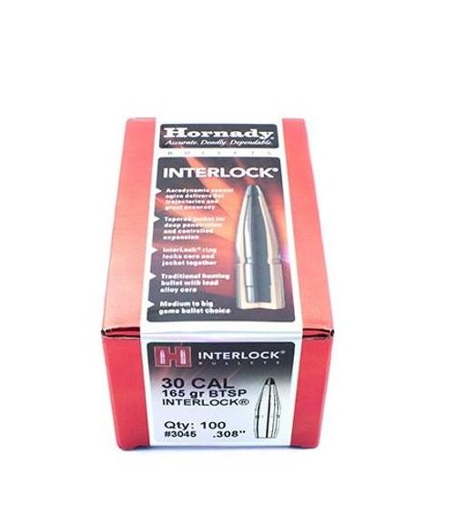 Hornady 30 Cal 165GR BTSP Interlock Bullets 100 Per Box