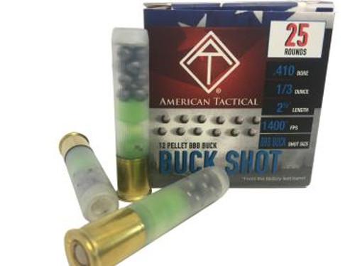 "American Tactical .410GA 2 1/2"", 1/3oz. 1400FPS BBB-Buck 12P, 25RD."