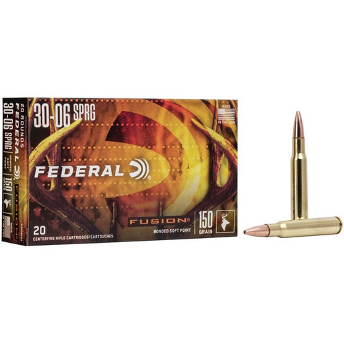FEDERAL FUSION 30-06 Springfield Bonded Soft Point 150GR,2900 Muzzle Velocity 20RD Per Box