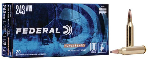 Federal Power Shock 243 Win  Jacket Soft Point 100 Grain  20RD Per Box