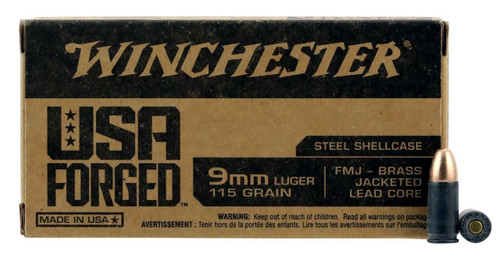 Winchester 9MM Luger 115Gr FMJ Steel 50 RD Per Box