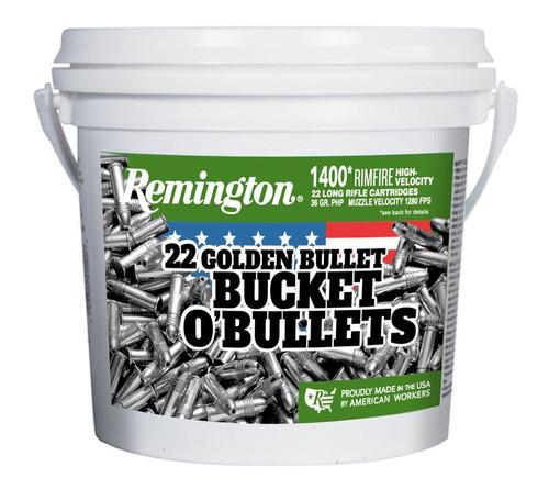 Remington 22 Long Rifle 36 GR Rimfire Hollow Point Golden Bucket O' Bullets 1400 Per Bucket