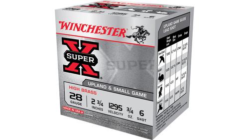 Winchester Super X 28Ga High Brass  2 3/4, 1295FPS, 3/4oz  #6 25RD Per Box 10Box/Case 250RD/Case