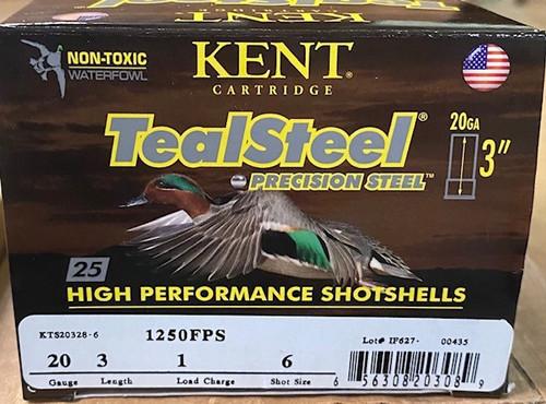 """Kent Teal Steel 20 Ga 3"""" 1oz, 1250fps, #6 25 RD Per Box 10 Per Case"""