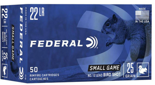 Federal 22 LR Bird Shot 1000FPS, GR, #12 Lead 50 RD Per Box