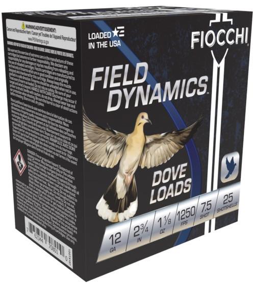 Fiocchi 12GA 2 3/4, 1 1/8oz 1250fps, #7.5 25RD Per Box